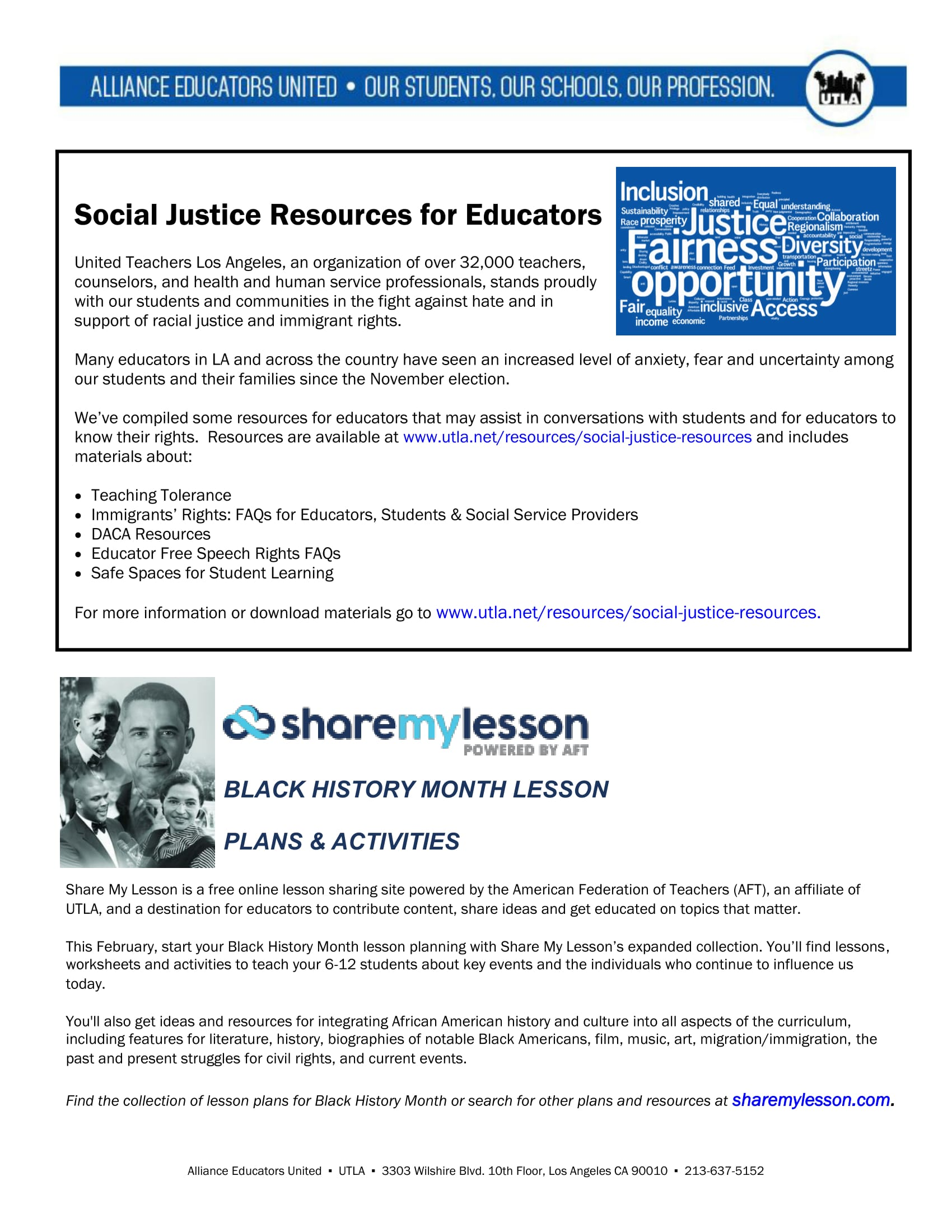 Alliance Social justice resources
