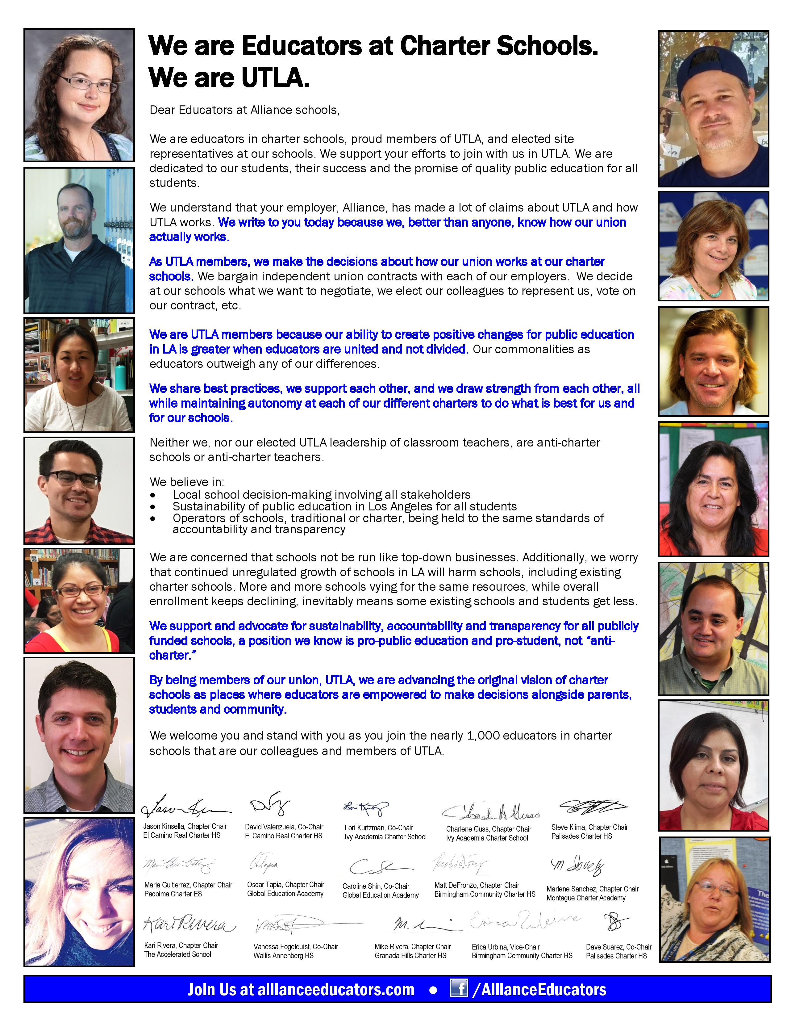 UTLA Charter Chapter Chairs Support Letter to Alliance Educators
